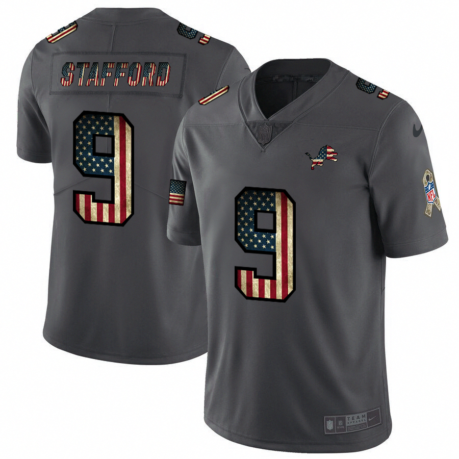 Nike Lions #9 Matthew Stafford 2018 Salute To Service Retro USA Flag Limited NFL Jersey
