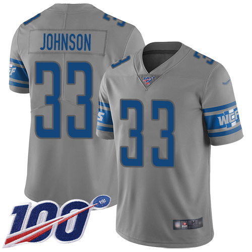 Nike Lions #33 Kerryon Johnson Gray Men's Stitched NFL Limited Inverted Legend 100th Season Jersey
