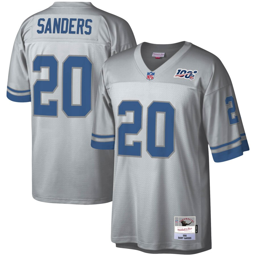 Detroit Lions #20 Barry Sanders Mitchell & Ness NFL 100 Retired Player Platinum Jersey