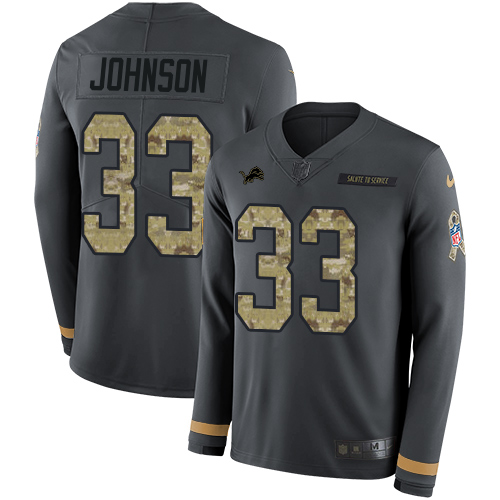 Nike Lions #33 Kerryon Johnson Anthracite Salute to Service Men's Stitched NFL Limited Therma Long Sleeve Jersey