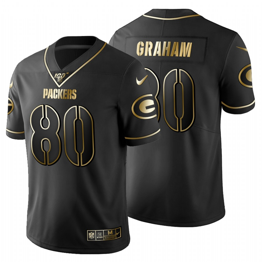 Green Bay Packers #80 Jimmy Graham Men's Nike Black Golden Limited NFL 100 Jersey