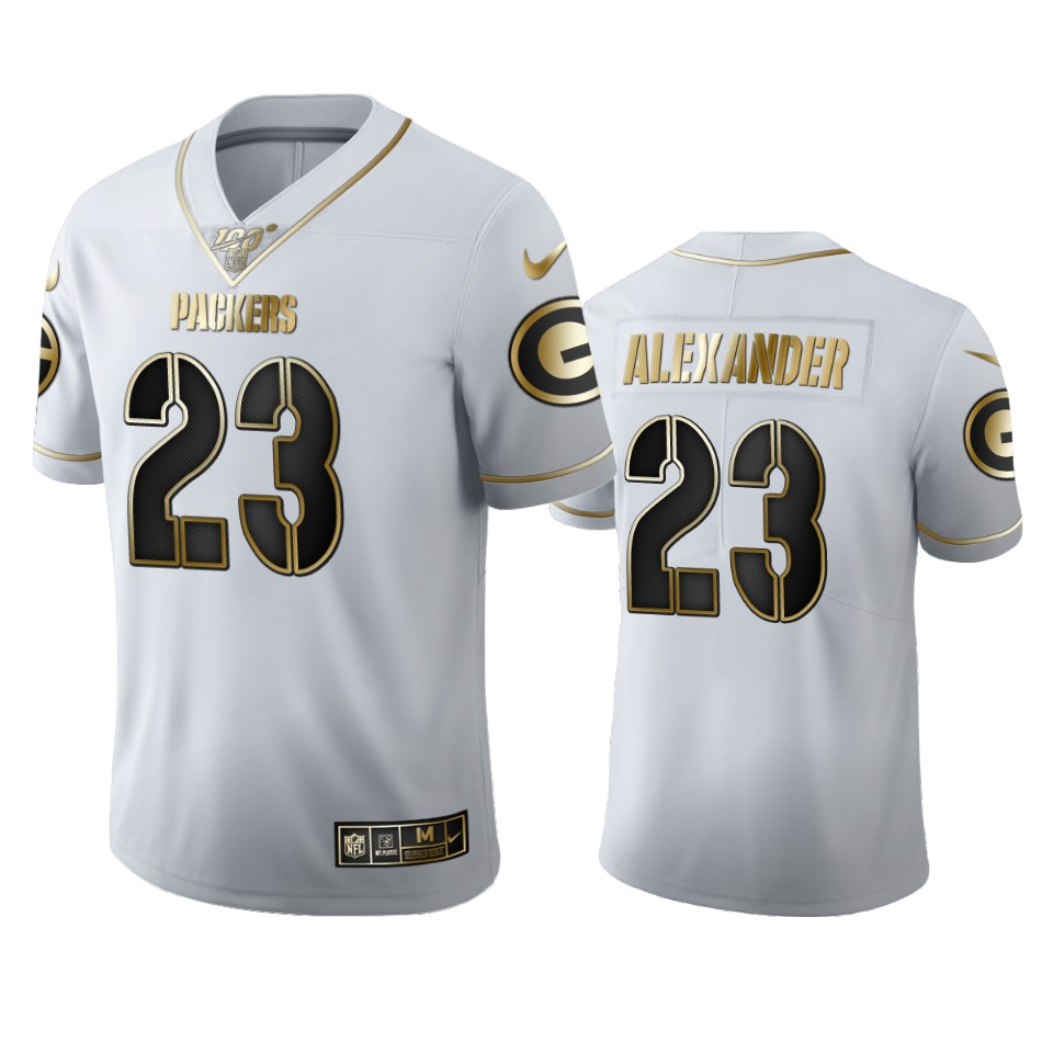 Green Bay Packers #23 Jaire Alexander Men's Nike White Golden Edition Vapor Limited NFL 100 Jersey