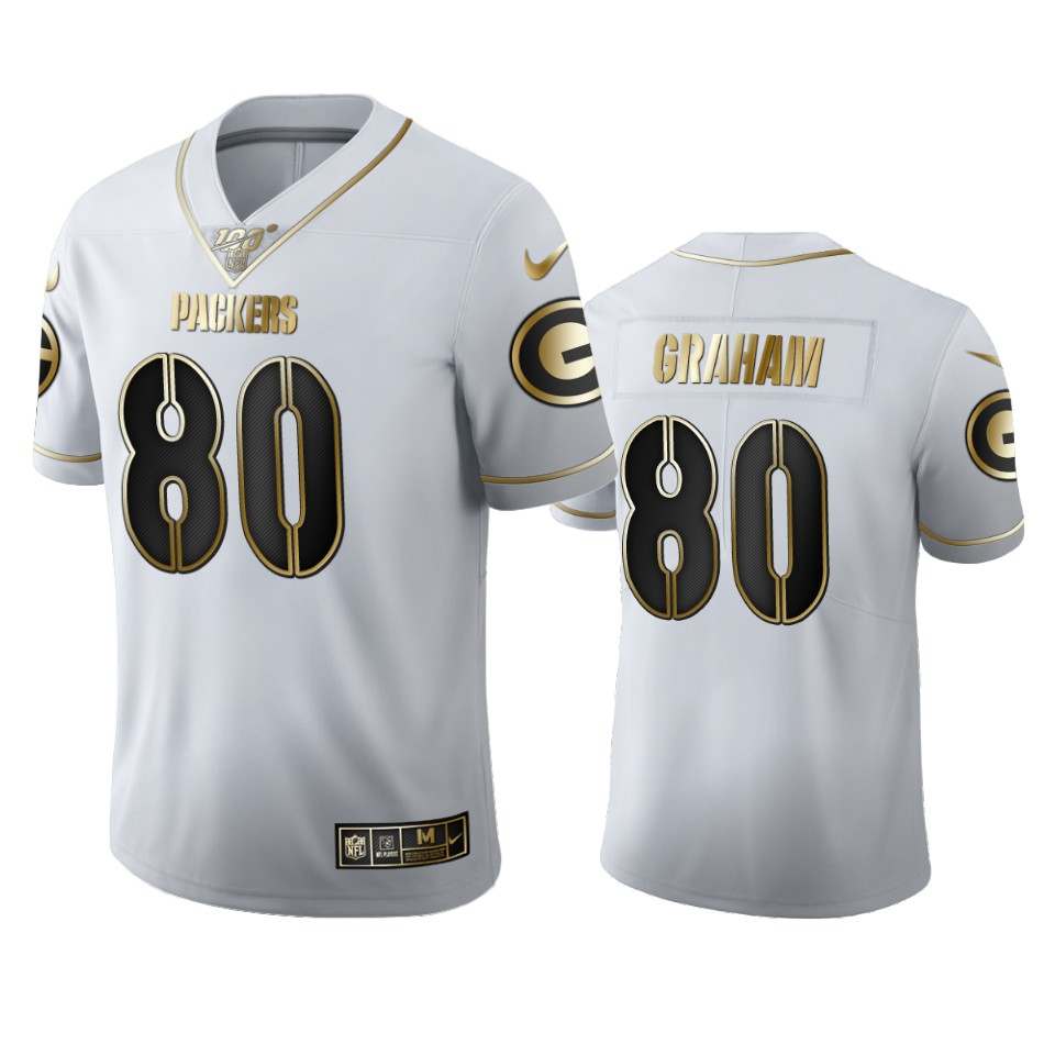Green Bay Packers #80 Jimmy Graham Men's Nike White Golden Edition Vapor Limited NFL 100 Jersey