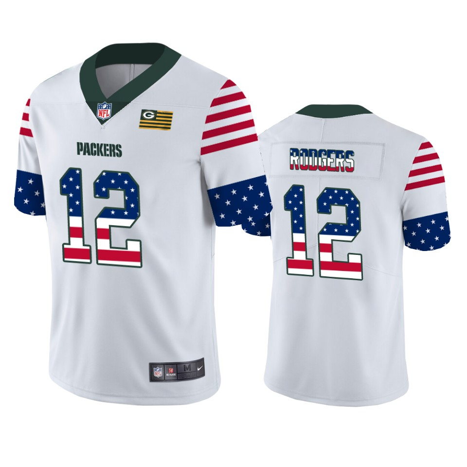 Green Bay Packers #12 Aaron Rodgers White Men's Nike Team Logo USA Flag Vapor Untouchable Limited NFL Jersey