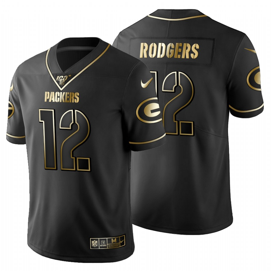 Green Bay Packers #12 Aaron Rodgers Men's Nike Black Golden Limited NFL 100 Jersey