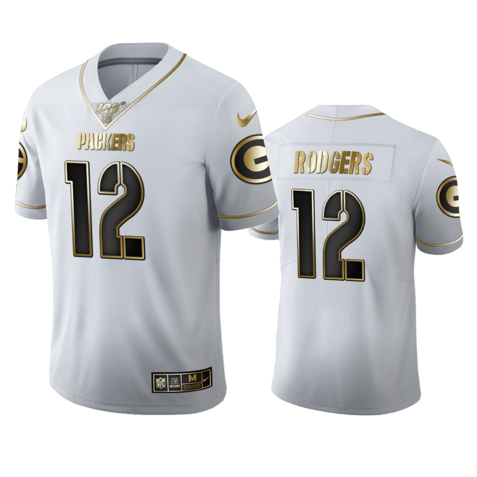 Green Bay Packers #12 Aaron Rodgers Men's Nike White Golden Edition Vapor Limited NFL 100 Jersey