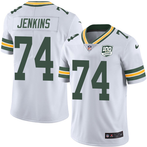 Nike Packers #74 Elgton Jenkins White Men's 100th Season Stitched NFL Vapor Untouchable Limited Jersey