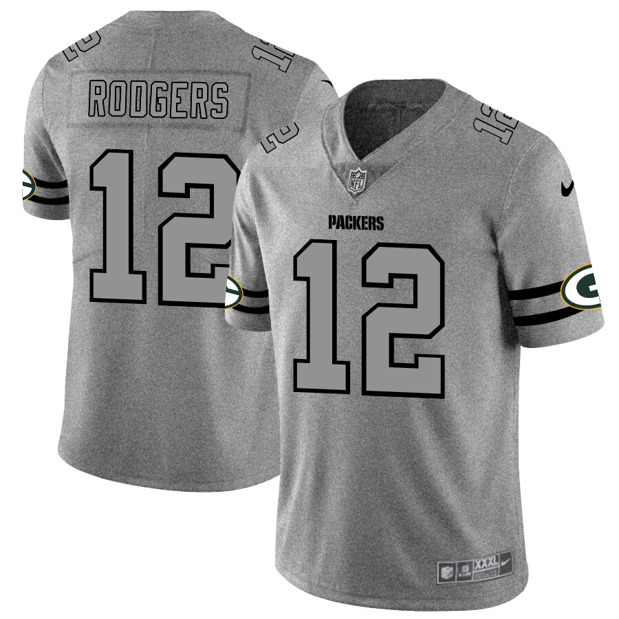 Green Bay Packers #12 Aaron Rodgers Men's Nike Gray Gridiron II Vapor Untouchable Limited NFL Jersey