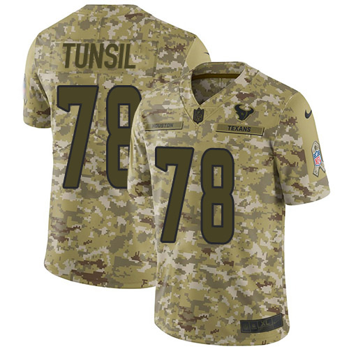 Nike Texans #78 Laremy Tunsil Camo Men's Stitched NFL Limited 2018 Salute To Service Jersey
