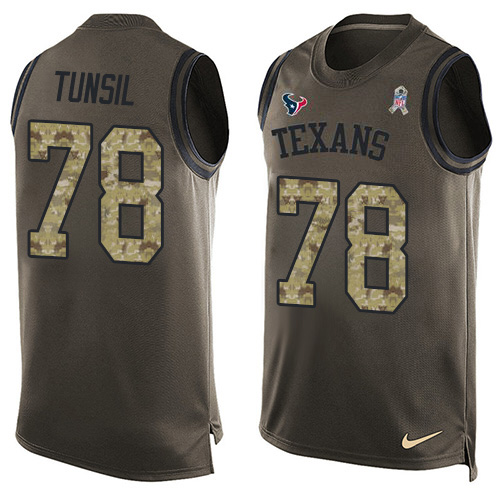 Nike Texans #78 Laremy Tunsil Green Men's Stitched NFL Limited Salute To Service Tank Top Jersey