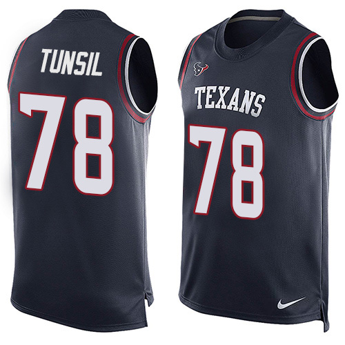 Nike Texans #78 Laremy Tunsil Navy Blue Team Color Men's Stitched NFL Limited Tank Top Jersey