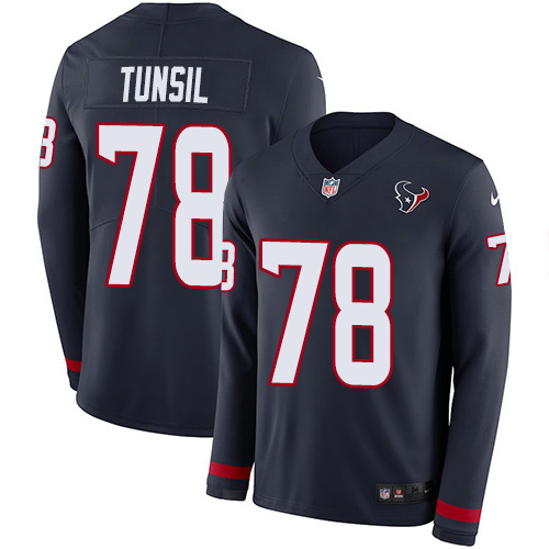 Nike Texans #78 Laremy Tunsil Navy Blue Team Color Men's Stitched NFL Limited Therma Long Sleeve Jersey