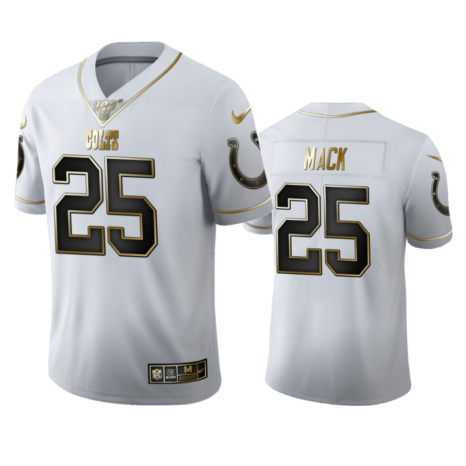 Indianapolis Colts #25 Marlon Mack Men's Nike White Golden Edition Vapor Limited NFL 100 Jersey