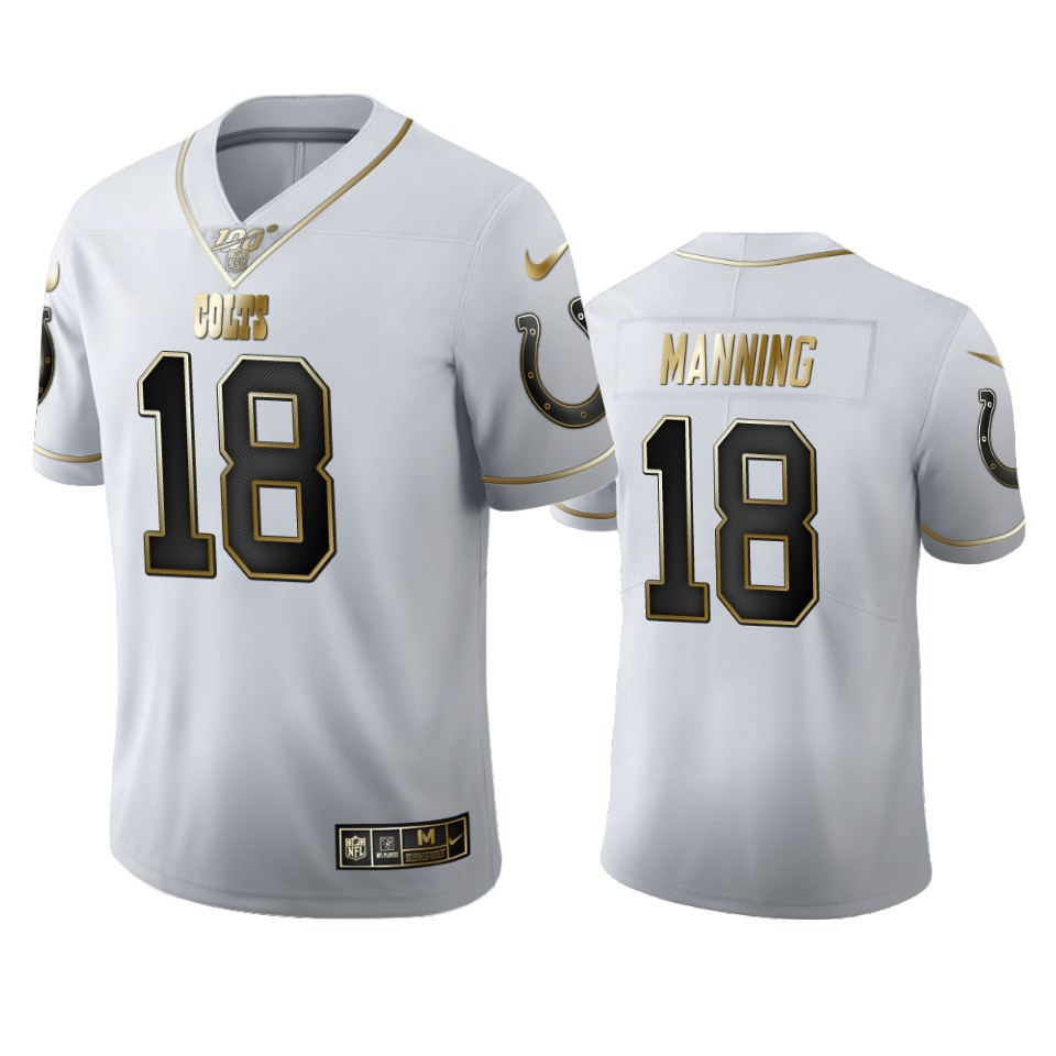 Indianapolis Colts #18 Peyton Manning Men's Nike White Golden Edition Vapor Limited NFL 100 Jersey