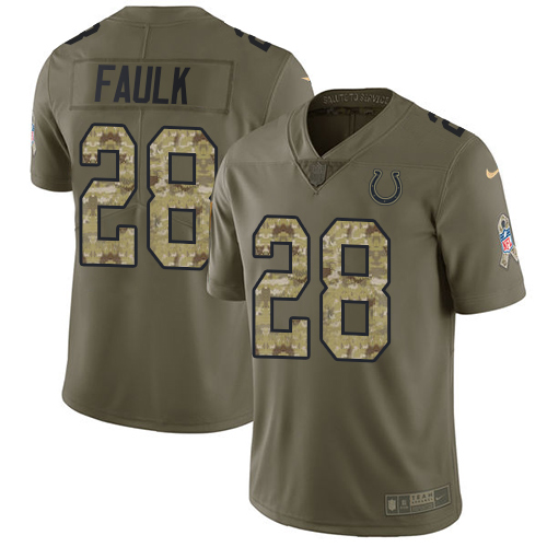 Nike Colts #28 Marshall Faulk Olive/Camo Men's Stitched NFL Limited 2017 Salute To Service Jersey