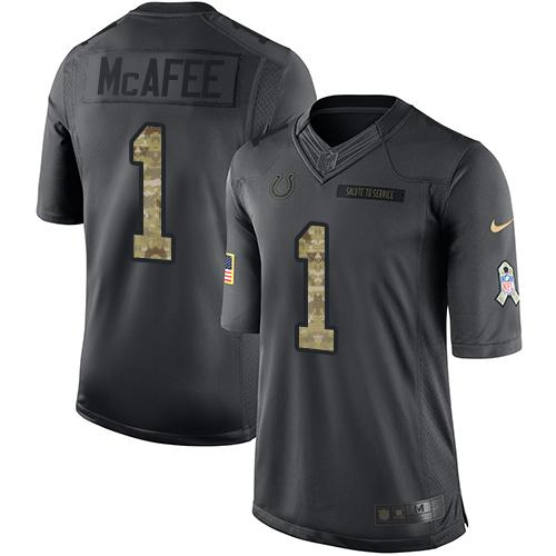 Nike Colts #1 Pat McAfee Black Men's Stitched NFL Limited 2016 Salute to Service Jersey