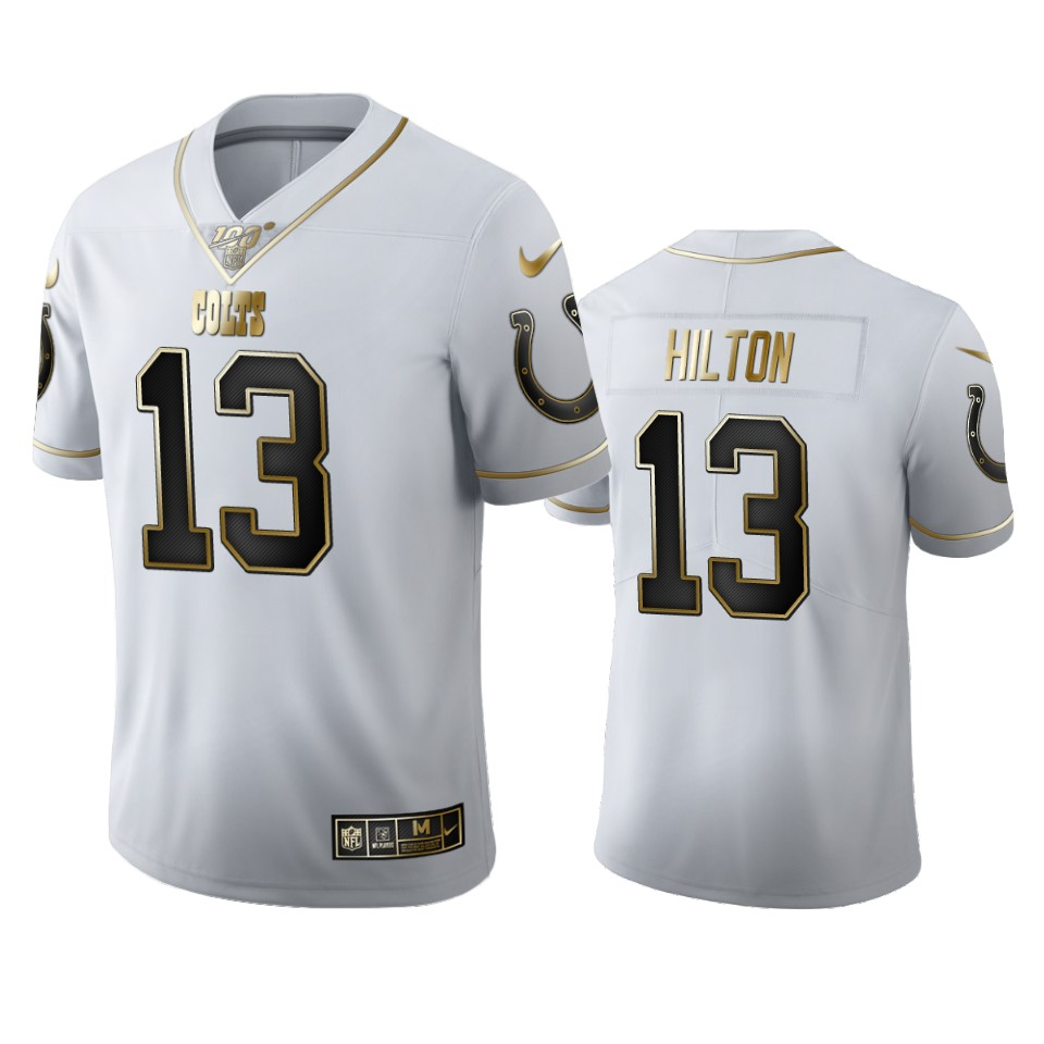 Indianapolis Colts #13 T.Y. Hilton Men's Nike White Golden Edition Vapor Limited NFL 100 Jersey