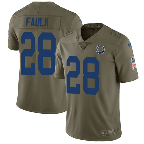 Nike Colts #28 Marshall Faulk Olive Men's Stitched NFL Limited 2017 Salute To Service Jersey