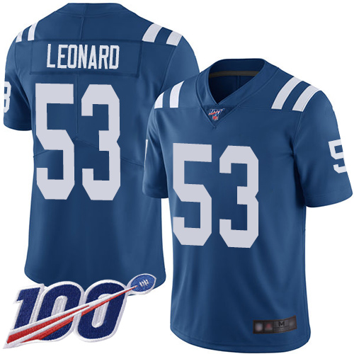 Nike Colts #53 Darius Leonard Royal Blue Team Color Men's Stitched NFL 100th Season Vapor Limited Jersey