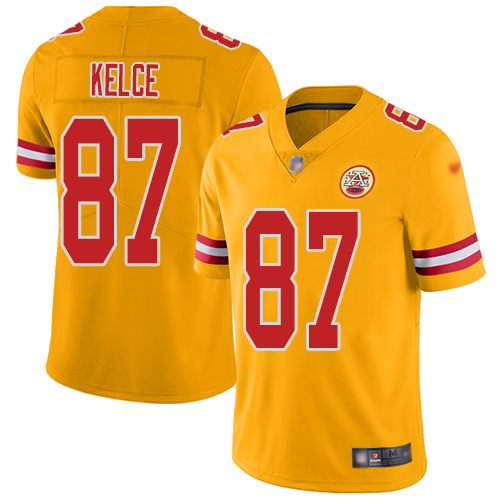 Nike Chiefs #87 Travis Kelce Gold Men's Stitched NFL Limited Inverted Legend Jersey
