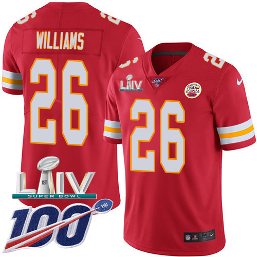 Nike Chiefs #26 Damien Williams Red Super Bowl LIV 2020 Team Color Men's Stitched NFL 100th Season Vapor Untouchable Limited Jersey