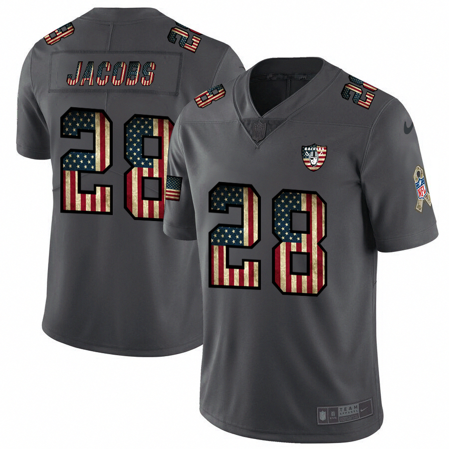 Raiders #28 Josh Jacobs Nike 2018 Salute to Service Retro USA Flag Limited NFL Jersey