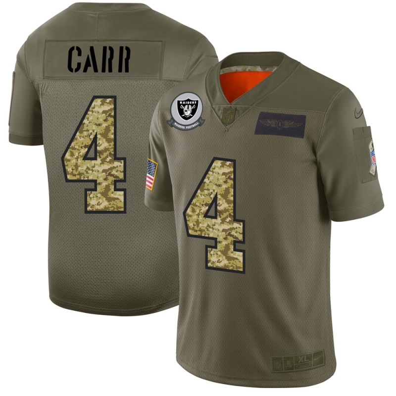 Raiders #4 Derek Carr Men's Nike 2019 Olive Camo Salute To Service Limited NFL Jersey