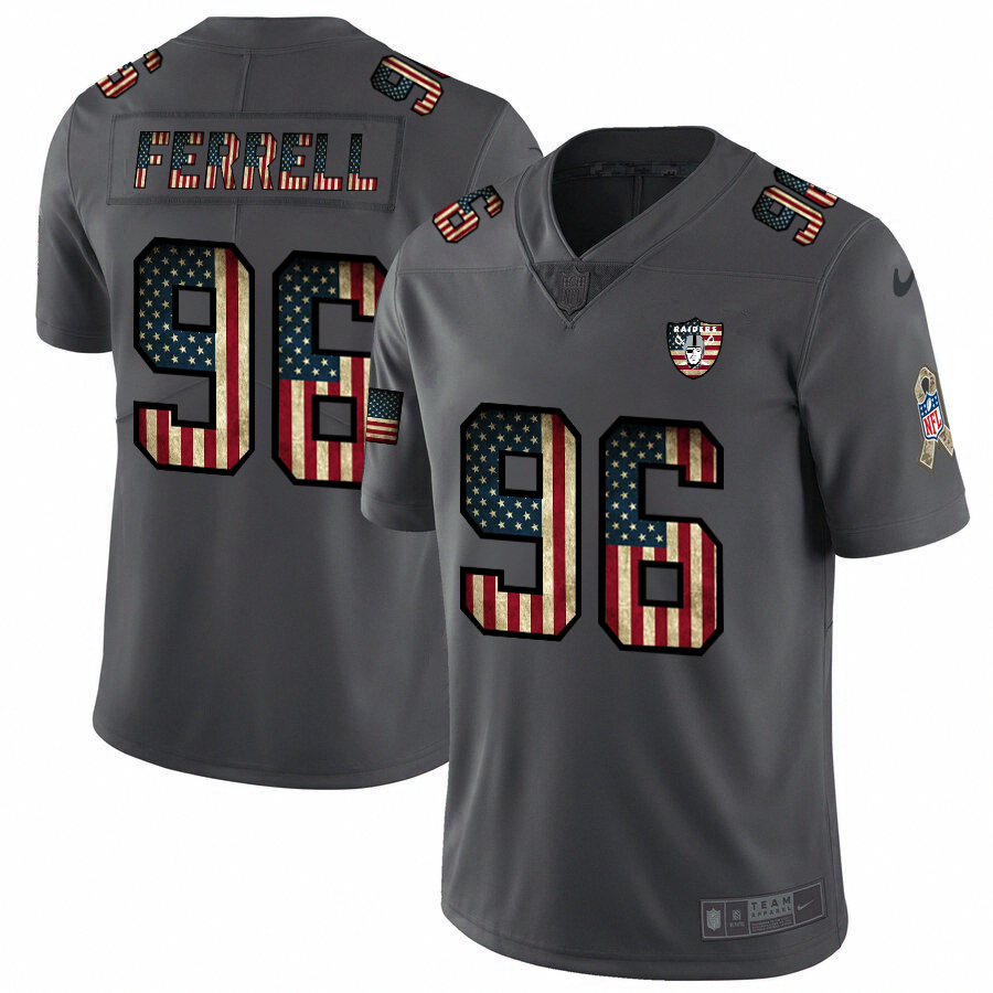 Nike Raiders #96 Clelin Ferrell 2018 Salute To Service Retro USA Flag Limited NFL Jersey