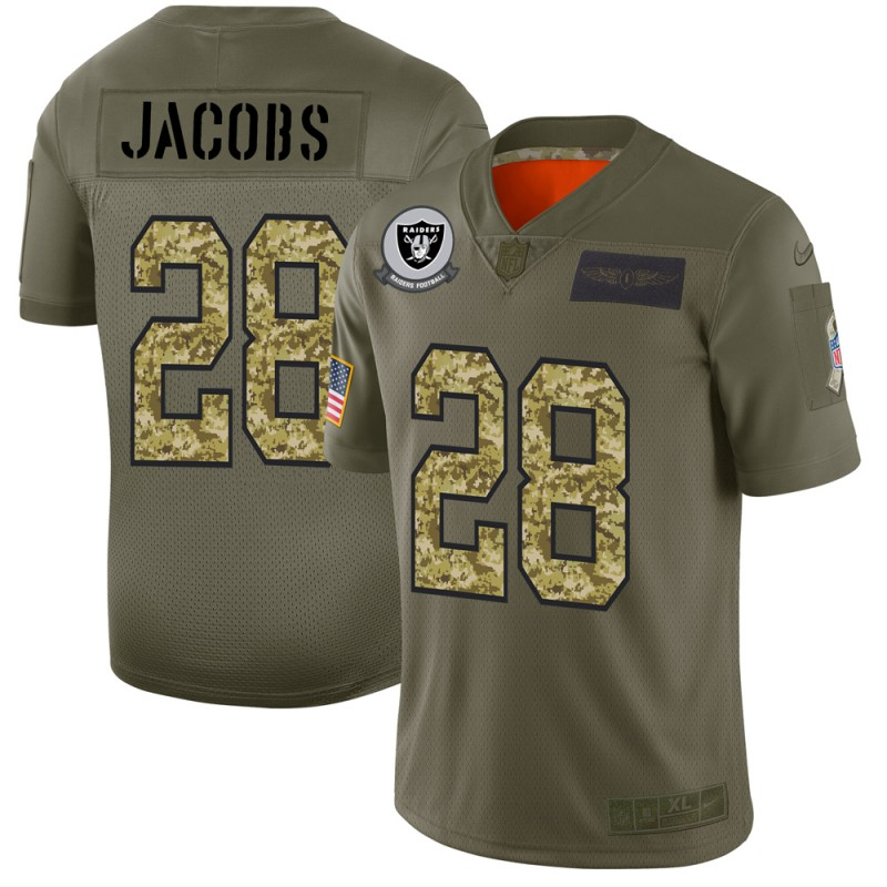 Raiders #28 Josh Jacobs Men's Nike 2019 Olive Camo Salute To Service Limited NFL Jersey