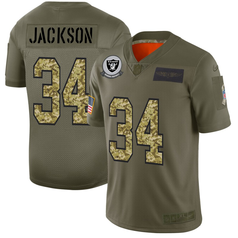 Raiders #34 Bo Jackson Men's Nike 2019 Olive Camo Salute To Service Limited NFL Jersey