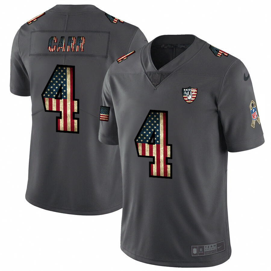 Raiders #4 Derek Carr Nike 2018 Salute to Service Retro USA Flag Limited NFL Jersey