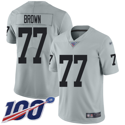 Nike Raiders #77 Trent Brown Silver Men's Stitched NFL Limited Inverted Legend 100th Season Jersey