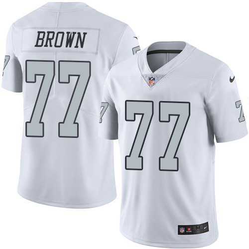 Nike Raiders #77 Trent Brown White Men's Stitched NFL Limited Rush Jersey