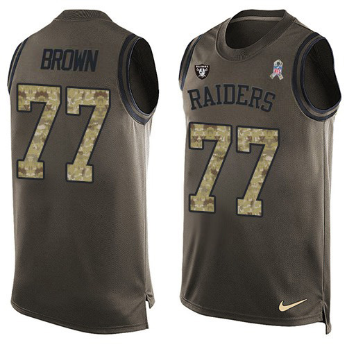 Nike Raiders #77 Trent Brown Green Men's Stitched NFL Limited Salute To Service Tank Top Jersey