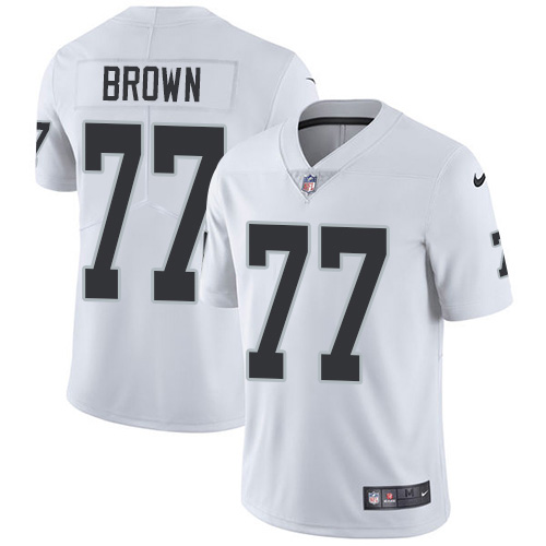 Nike Raiders #77 Trent Brown White Men's Stitched NFL Vapor Untouchable Limited Jersey