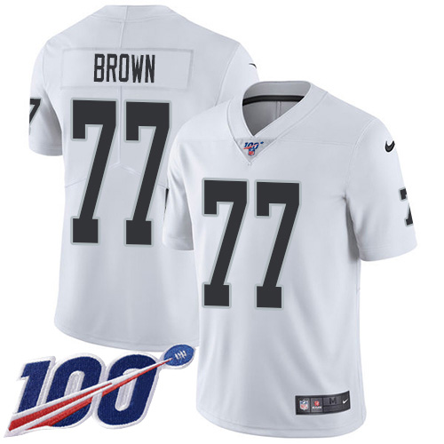 Nike Raiders #77 Trent Brown White Men's Stitched NFL 100th Season Vapor Untouchable Limited Jersey