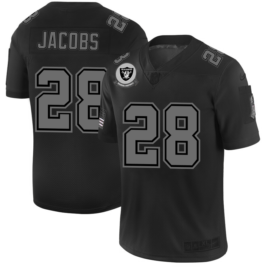 Raiders #28 Josh Jacobs Men's Nike Black 2019 Salute to Service Limited Stitched NFL Jersey