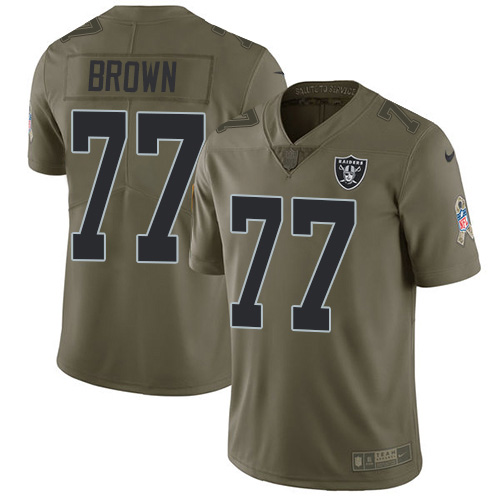 Nike Raiders #77 Trent Brown Olive Men's Stitched NFL Limited 2017 Salute To Service Jersey