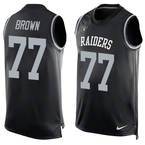 Nike Raiders #77 Trent Brown Black Team Color Men's Stitched NFL Limited Tank Top Jersey