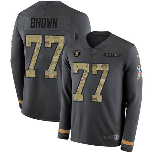 Nike Raiders #77 Trent Brown Anthracite Salute to Service Men's Stitched NFL Limited Therma Long Sleeve Jersey