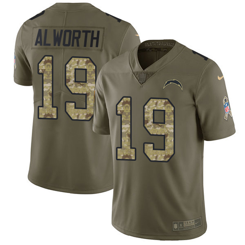Nike Chargers #19 Lance Alworth Olive/Camo Men's Stitched NFL Limited 2017 Salute To Service Jersey