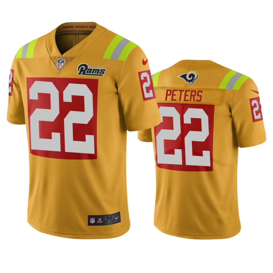 Los Angeles Rams #22 Marcus Peters Gold Vapor Limited City Edition NFL Jersey