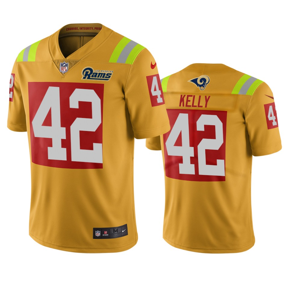 Los Angeles Rams #42 John Kelly Gold Vapor Limited City Edition NFL Jersey