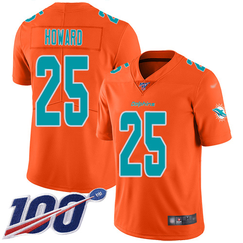 Nike Dolphins #25 Xavien Howard Orange Men's Stitched NFL Limited Inverted Legend 100th Season Jersey