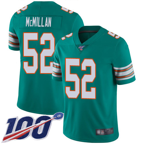 Nike Dolphins #52 Raekwon McMillan Aqua Green Alternate Men's Stitched NFL 100th Season Vapor Limited Jersey