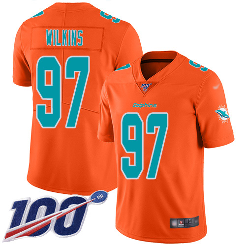 Nike Dolphins #97 Christian Wilkins Orange Men's Stitched NFL Limited Inverted Legend 100th Season Jersey