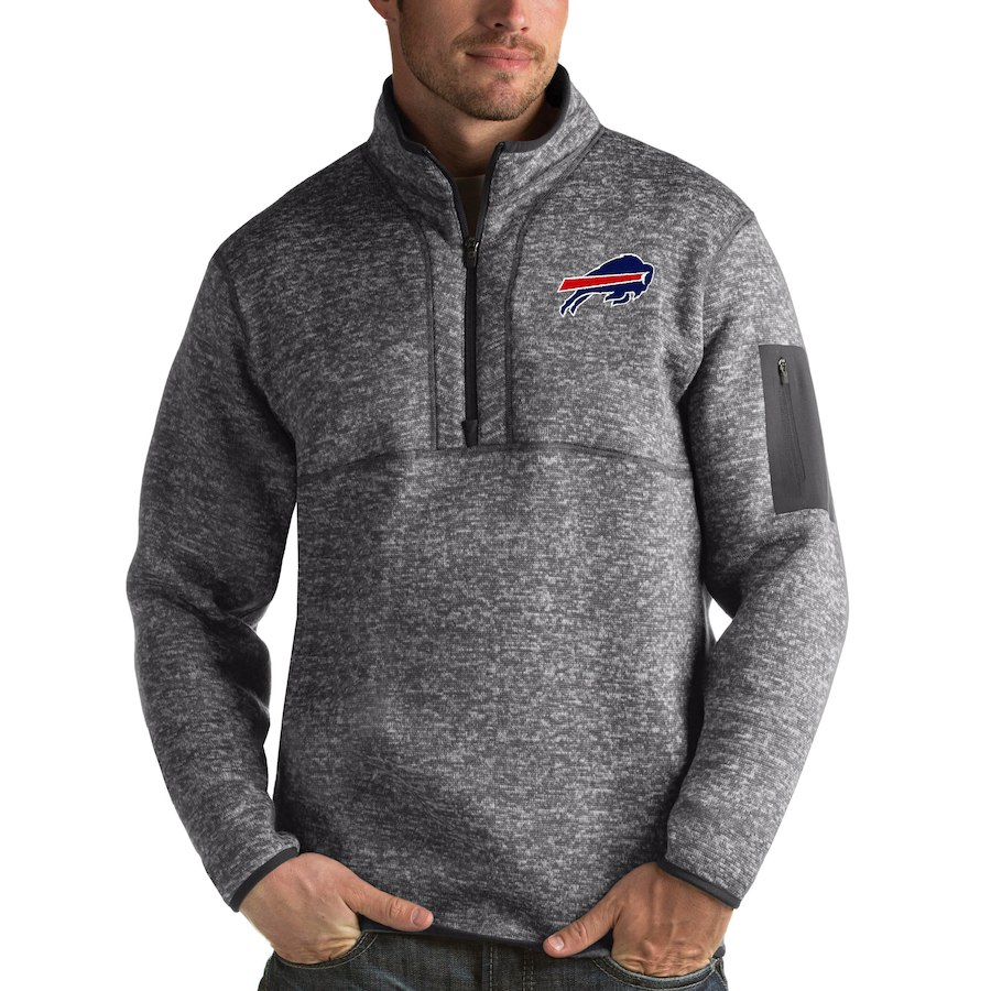 Buffalo Bills Antigua Fortune Quarter-Zip Pullover Jacket Charcoal