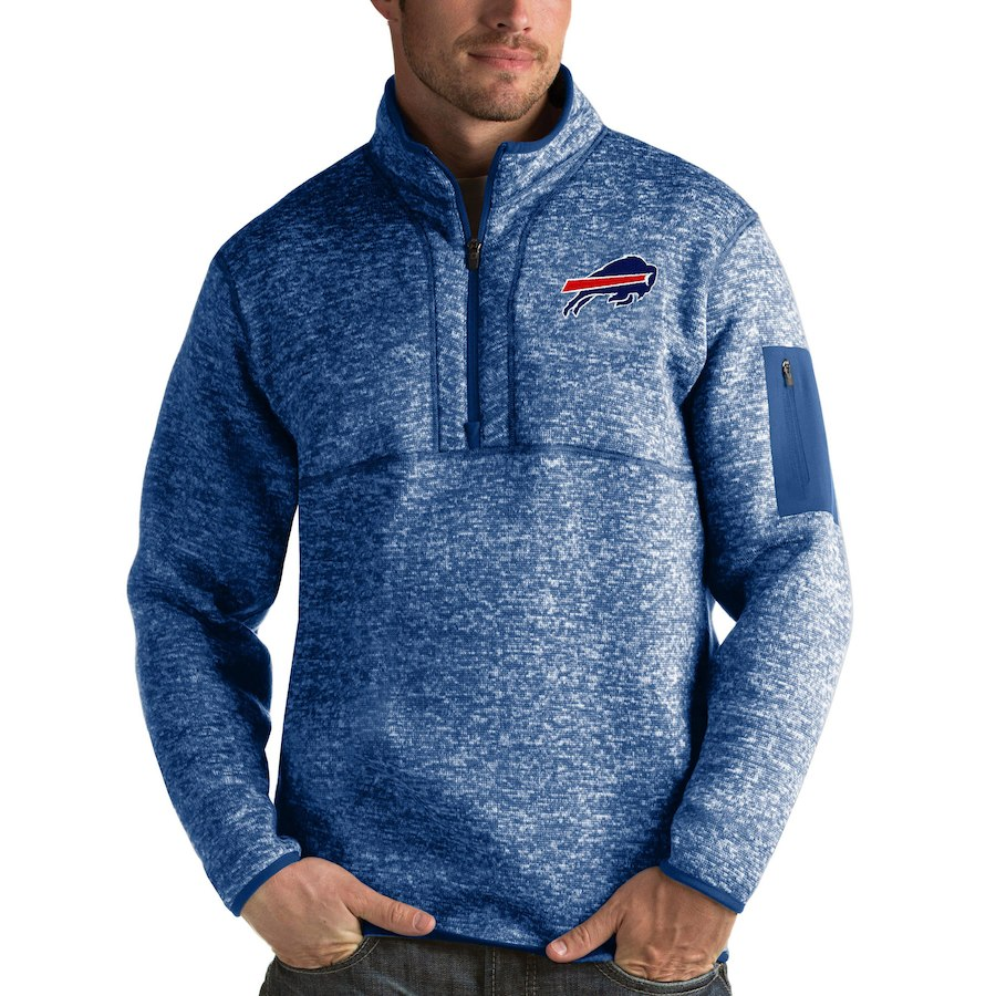 Buffalo Bills Antigua Fortune Quarter-Zip Pullover Jacket Heather Royal