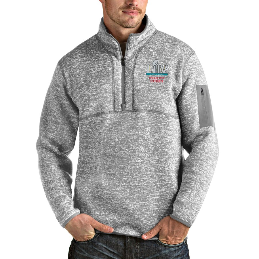 Men's Kansas City Chiefs NFL Heather Gray Super Bowl LIV Bound Fortune Quarter-Zip Pullover Jacket
