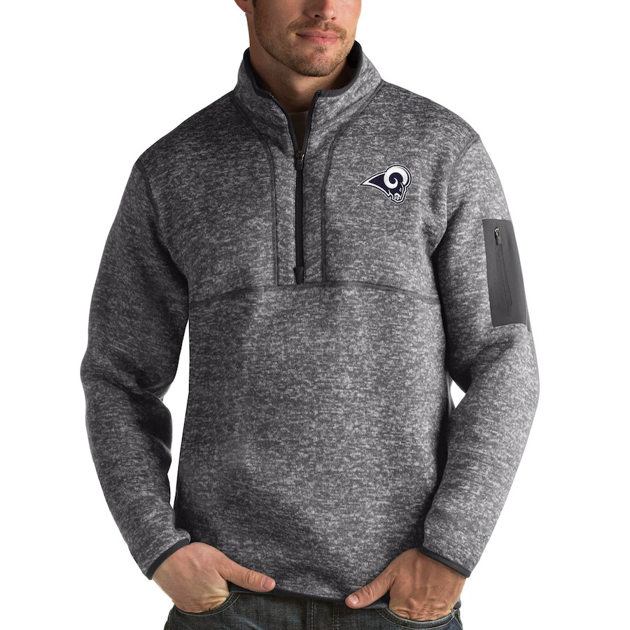 Los Angeles Rams Antigua Fortune Quarter-Zip Pullover Jacket Charcoal